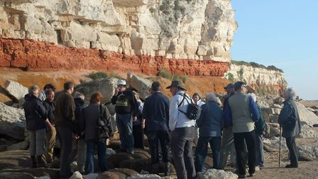 Members of the North Norfolk Norfolk WIldlife Trust group at Hunstanton Cliffs. Picture: BOB WARD