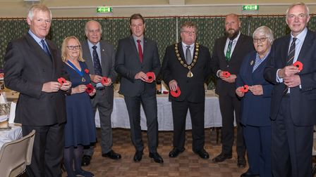North Walsham mayor Barry Hester and VIP guests before the Armistice Civic Dinner. Pictures: Greg Ga