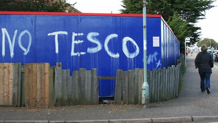 Graffiti protests against Tesco before the store was built in Sheringham five years ago.Photo: KAREN