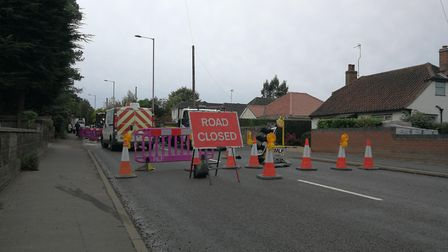The closed road due to a burst water pipe. PHOTO: Donna Louise Bishop