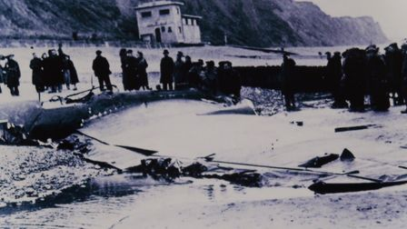 The wreckage of a Heinkel 115 bomber found on Sheringham beach in December, 1939. The lifeboat stati