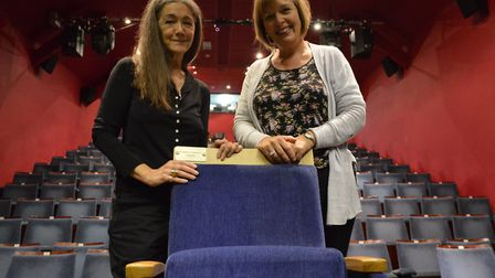 Lady Hurt and Debbie Thompson with one of the new seats that will be fitted to Sheringham Little The