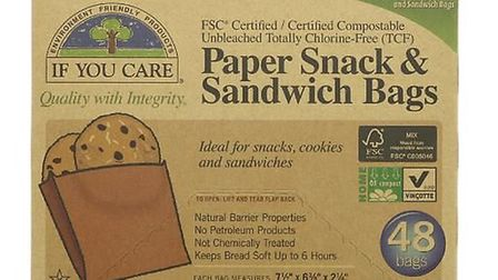 Paper snack bags made from the unbleached pulp of Scandinavian spruce trees is one item for sale on