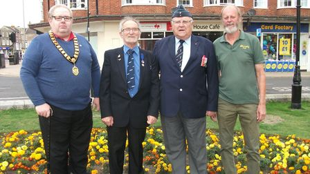 (L-R): Cromer mayor David Pritchard, town councillor David Russell, air commodore Jack Broughton, an