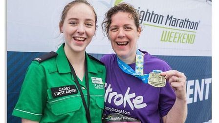 Holly and mum Nicki after Nicki completed the Brighton marathon this year after her stroke. Photo: t