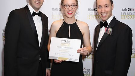 Holly Rumsby, at the St John Ambulance awards in London, where she was highly commended for the Youn