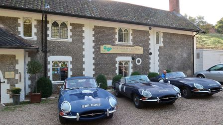 E-Type Jaguars on the Round Britain Coastal Drive ready to depart the Northrepps Cottage Country Hot