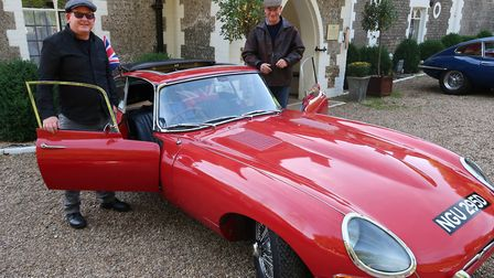 One of the E-Type Jaguars on the Round Britain Coastal Drive ready to depart the Northrepps Cottage
