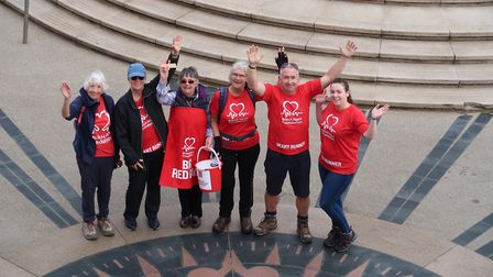 Hilary Cox, third from right, and supporters, shortly before heading off on the 250-mile Hike for He