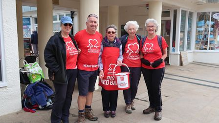 Hilary Cox, far right, and supporters, shortly before heading off on the 250-mile Hike for Hearts fr