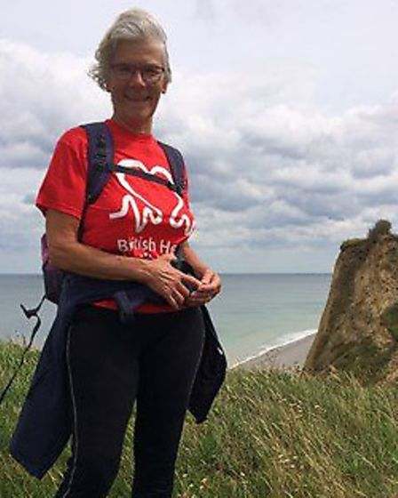 Hilary Cox, MBE, is setting off on a 250 mile walk from Cromer pier on Sunday. Photo: BHF