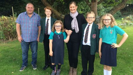 From L-R, dad Steve Wright, Josh, Felicity, mum Sarah, Ben and Ellie. Picture: David Bale