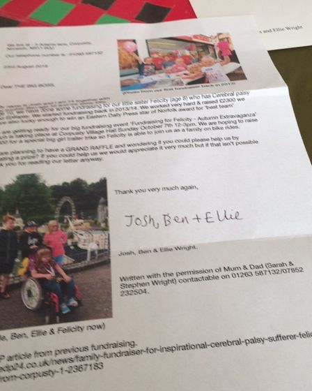 The siblings wrote letters asking for donations for the raffle. The letter they wrote and signed. Pi