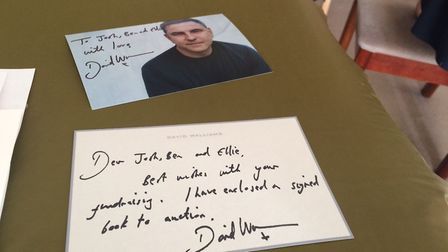 The siblings wrote letters asking for donations. David Walliams' reply. Pictures: David Bale
