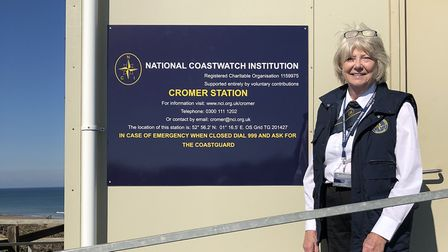 Linda Lawrence from the National Coastwatch Institution at the newly renamed Cromer Coastwatch. Phot