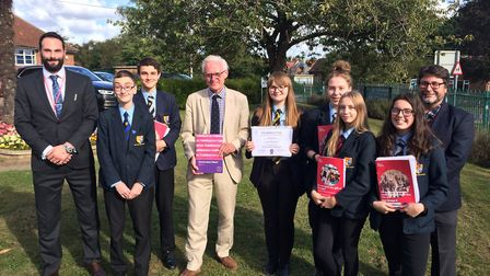 MP Norman Lamb with pupils from Stalham High School, who are participating in The Scholars Programme