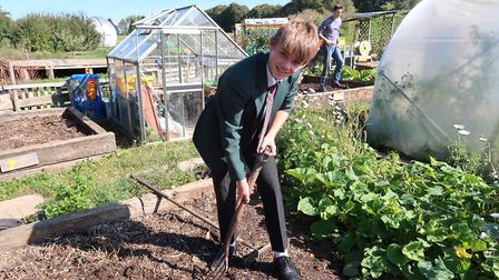Robert Jackets, 14, digs in at Reepham High School and College's Allotment Project. Picture: STUART