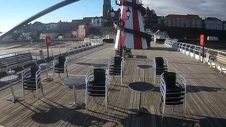 A still from the webcam of Cromer pier, where a film crew will be shooting a BBC drama later today,