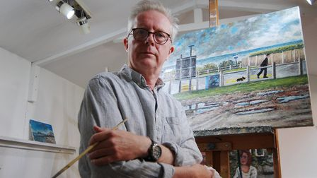 Cromer artist Paul Robinson, whose paintings capture the sunny side of life in the town.Photo: PAUL