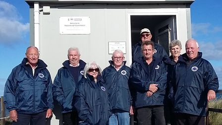 The Happisburgh Coast Watch group in their new jackets. Picture: SUPPLIED BY THE COAST WATCH GROUP