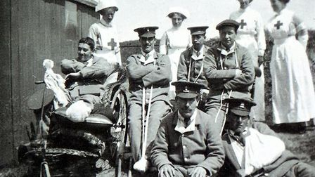 Nurses with injured soldiers at the Auxiliary Red Cross Hospital in Cliff Road.Photo: Tim Groves arc