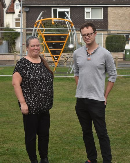 Cllr Tim Adams and disability awareness campaigner Emma Spagnola at the park in Cromer where accessi