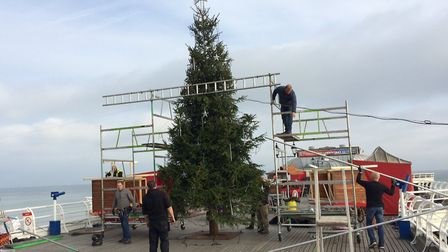 Filming is over in Cromer and they are now packing up. That includes dismantling the Christmas tree.