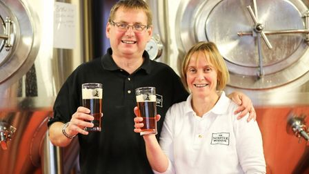 David and Rachel Holliday of the Norfolk Brewhouse, which has teamed up with Sheringham Horticultura