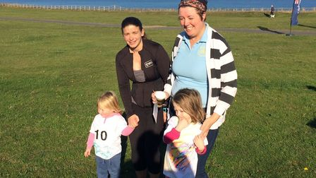 L-R, Isla Hield, two, Sandra Sayer, Louise Jackson and Elsie Jackson-Hall, three, took part in the c