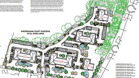 Initial plans for 62 retirment homes to the rear of Sheringham House in Sheringham. Image: PLANNING