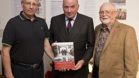 Launch of Sheringham WW1 book. L-R, Tim Groves, Lord Dannatt and Peter Farley. Pictures: Rob Henry