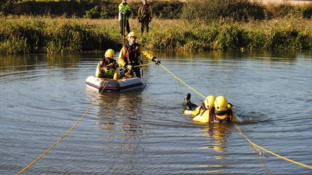 Mundesley Independent Lifeboat crew members training on the North Walsham and Dilham Canal. Pictures