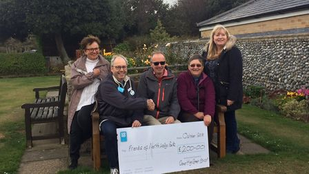 Bench for Friends of North Lodge Park in Cromer. L-R, Val Boon, Stuart Vail, Barry Meadows, Val McCa