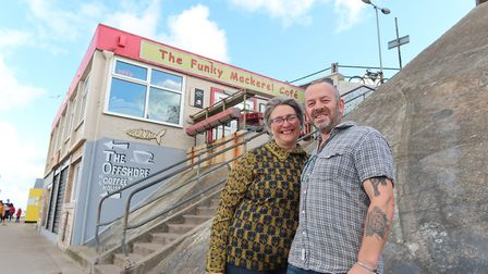 Terry and Ted O'Neill at Sheringham's Funky Mackerel Cafe. Picture: STUART ANDERSON