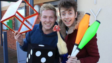 Magician and clown pals Robbie James and Alex Morley, who are staging a circus variety show at North