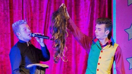 Magician and clown pals Robbie James and Alex Morley on stage. Photo: supplied