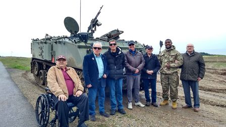 Eight visually-impaired ex-servicemen visited a former training camp at Weybourne with the charity B