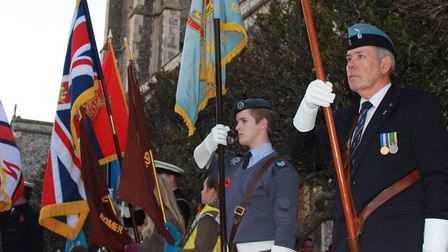 Standard bearers at Cromer's annual Remembrance Day service. Photo: KAREN BETHELL
