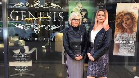 Shelley Rudman, left, and Lauren Miller, right, co-owners of Genesis Hair Salon on Hamiton Road, Cro