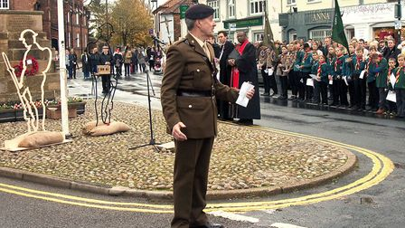 Holt Remembrance Sunday service at the town war memorial.Photo: RODNEY SMITH