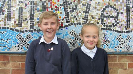 Head boy and girl at Millfield Primary School. Gus Mitchell and Lily Owers. Picture: Dawn Price