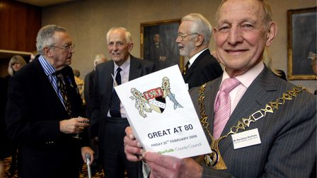 Wyndham Northam, when he was chairman of Norfolk County Council in 2009, celebrating his 80th birthd