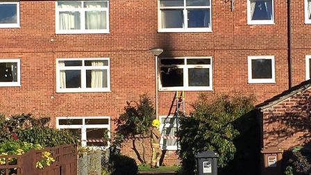 The aftermath of a fire at a flat in Manor Walk, Holt. Picture: ARCHANT