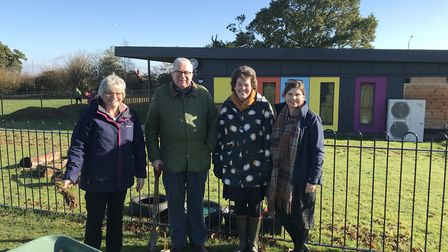At the tree planting, were, from left, Jenny Youngs, chair of governers of Aylsham Learning Federati