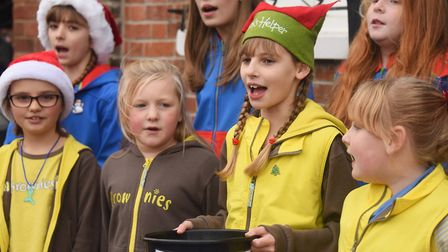 Stalham and Sutton Guides and Brownies sing at the Stalham Yuletide Market. Picture: DENISE BRADLEY