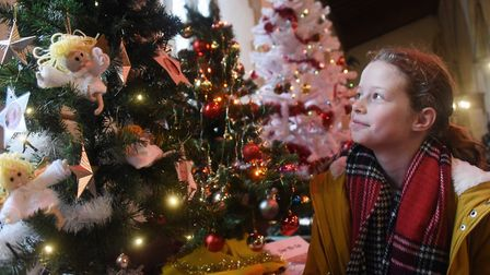 Paige Samwell, 12, enjoys the Christmas tree festival, part of the Stalham Yuletide Market. Picture: