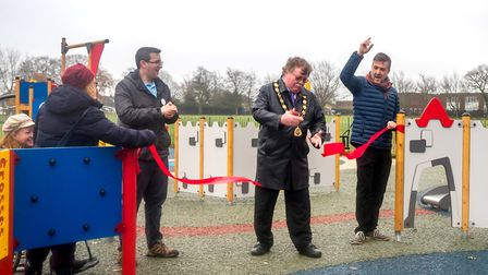The official opening of the play park in North Walsham. The ribbon was cut by Town Mayor and Trustee