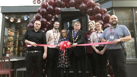 At the opening of North Walsham's Costa last month were, from left, Arron Smith, Jack Tindall, Naomi