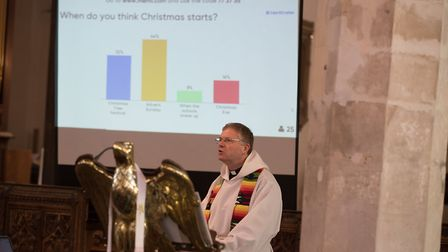 Revd Canon Andrew Beane during a service at Aylsham Parish Church. Picture: PA/MIKE FITT/MENTIMETER