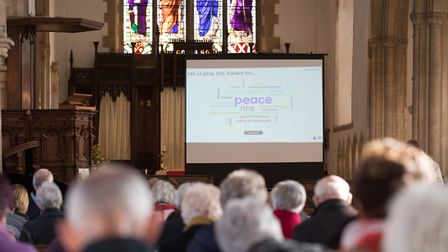 A 'word cloud' shown to parishioners during a service at Aylsham Parish Church. Picture: PA/MIKE FIT